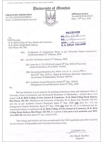 B K  Birla College of Arts, Science & Commerce, Kalyan